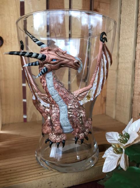 Copper Dragon vase, ploymer clay on glass