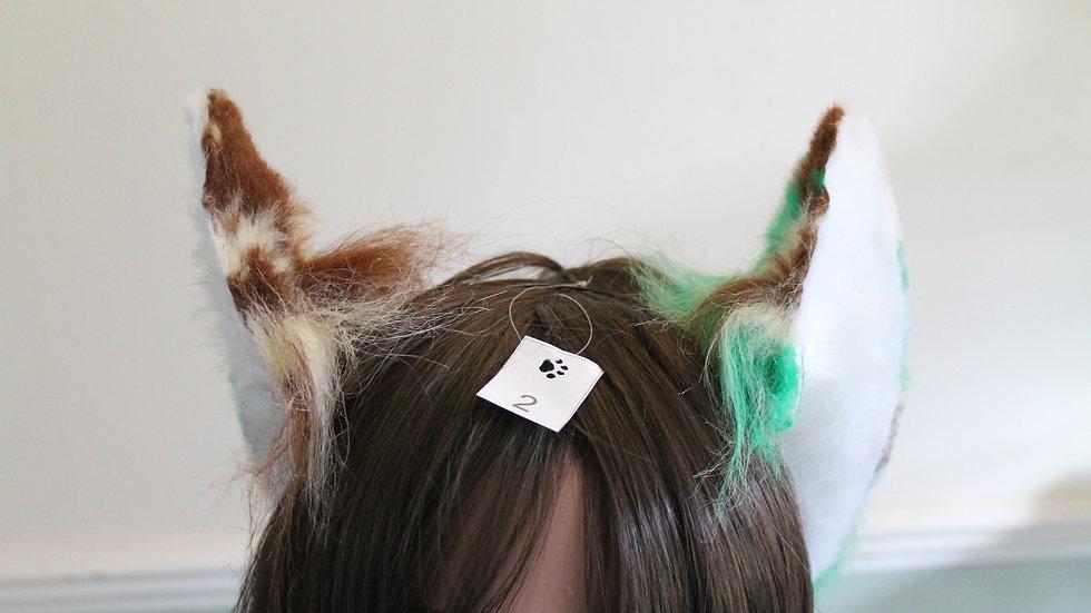 Flexi Ears on Headband - Splodge Brown/Green/Cream and White