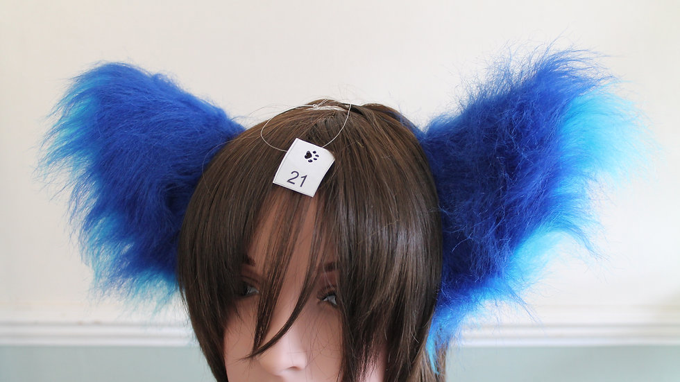 Super Fluffy Cat Ears on Headband - Royal Blue and Turquoise