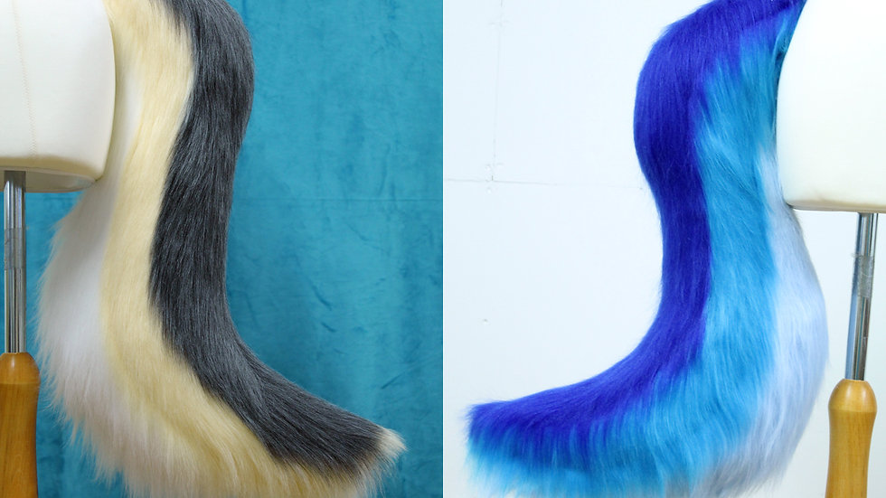 3 Colour Wolf Fursuit Cosplay Tail - up to Three Colours - Base to tip stripes