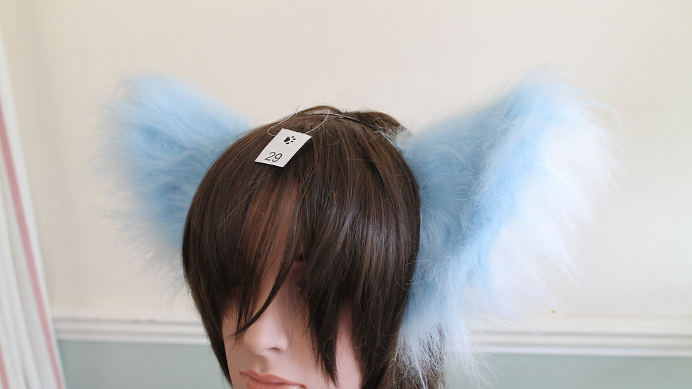 Super Fluffy Cat Ears on Headband - Baby Blue and White