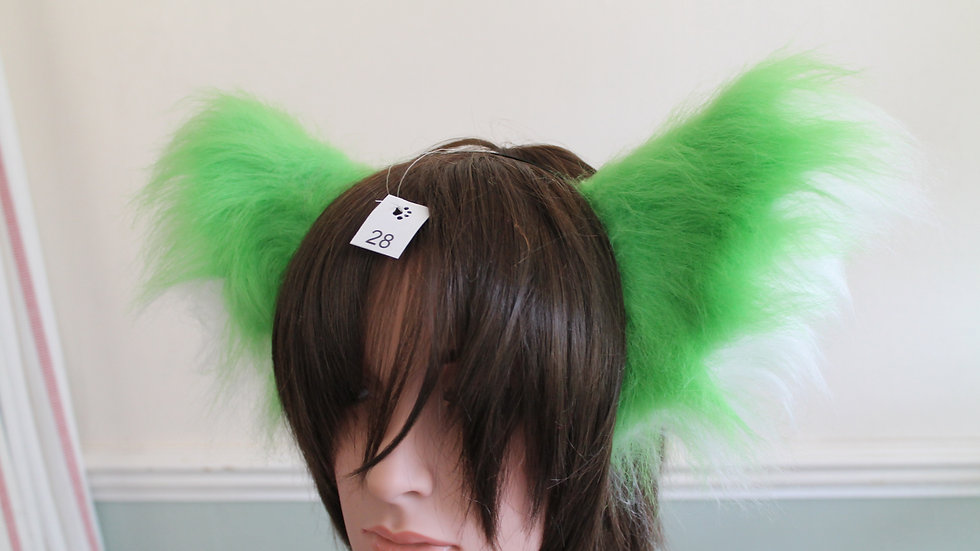 Super Fluffy Cat Ears on Headband - Lime Green and White