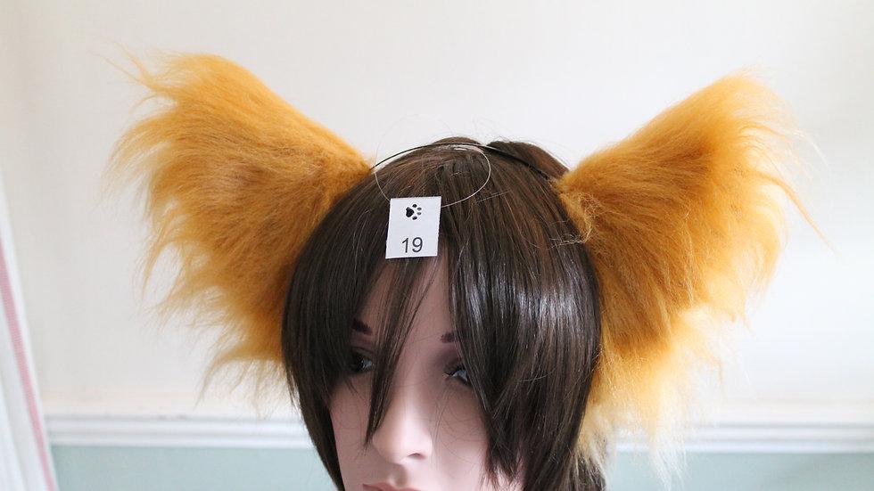 Super Fluffy Cat Ears on Headband - Caramel and Cream