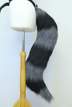Grey and black raccoon tail for cosplay and furry dress-up