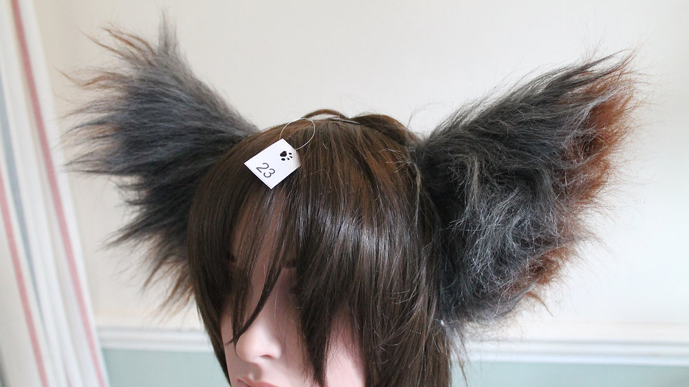 Super Fluffy Cat Ears on Headband - Grey and Brown