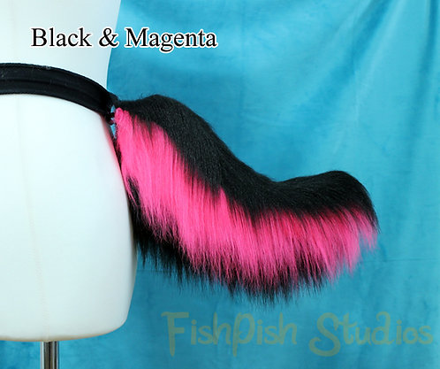 3 Colour Stubby Fursuit Cosplay Tail - up to Three Colours - Base to tip Stripes
