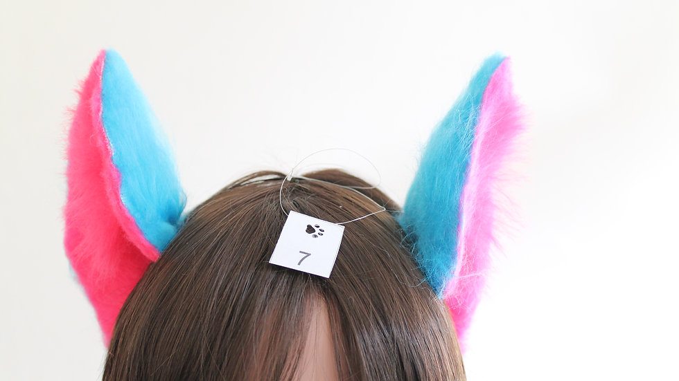 Flexi Ears on Headband - Turquoise and Hot Pink