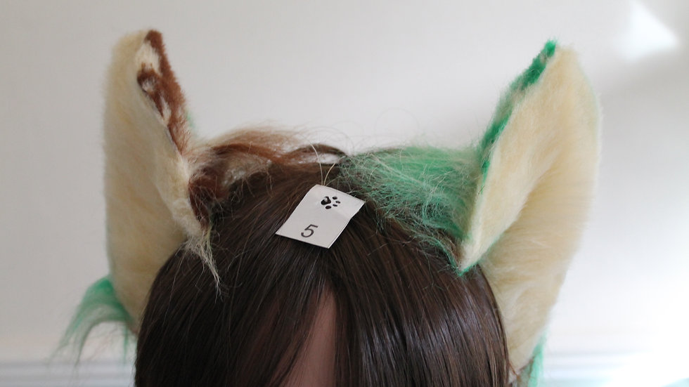 Flexi Ears on Headband - Splodge Brown/Green/Cream and Cream