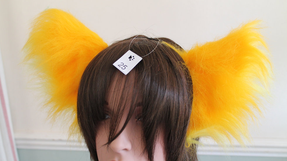Super Fluffy Cat Ears on Headband - Gold and Sun Yellow