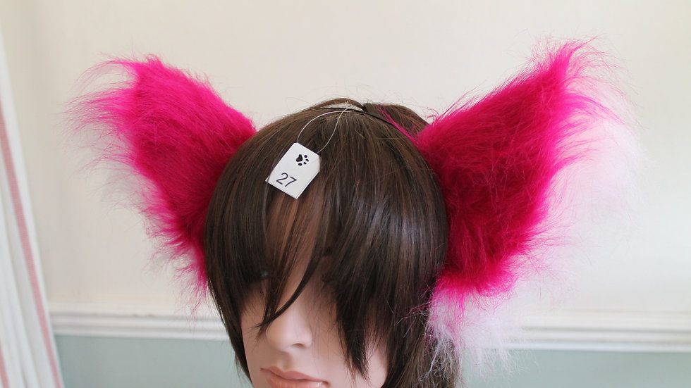 Super Fluffy Cat Ears on Headband - Hot Pink and Baby Pink
