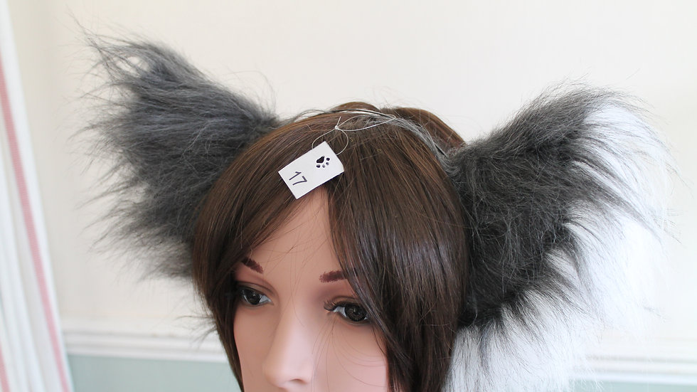 Super Fluffy Cat Ears on Headband - Grey and White