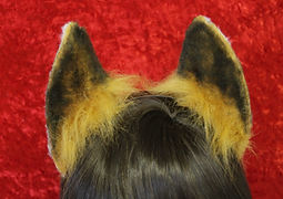 fox inspired flexi ears in caramel and white with black detailing