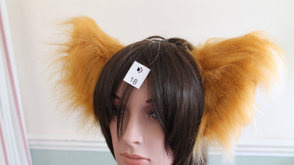 Super Fluffy Cat Ears on Headband - Caramel and White