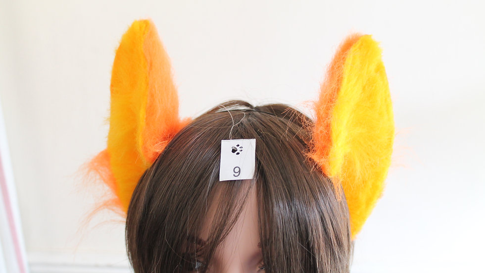 Flexi Ears on Headband - Sun Yellow and Orange
