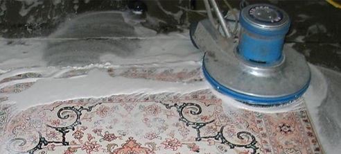 Rug cleaning services with rotation machine