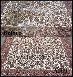 Before-after cleaning on persian rug