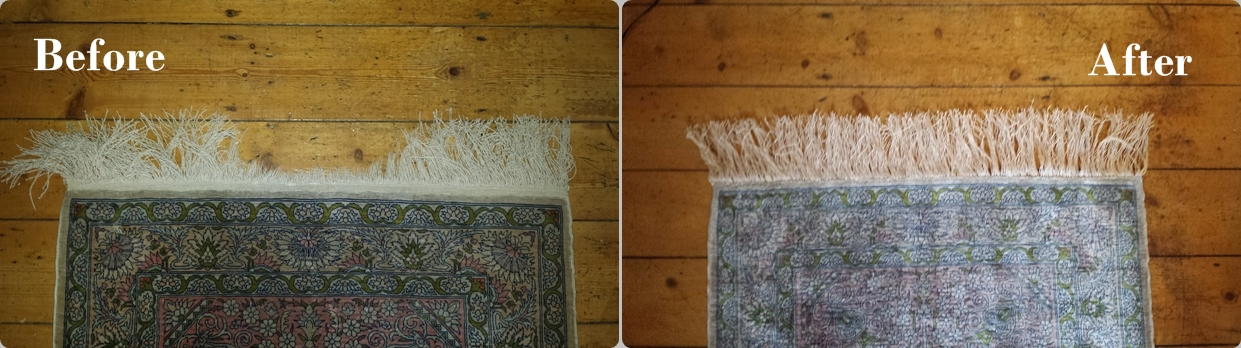 fringes repaired in this rug