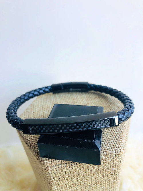 Leather and black stainless steel bracelet