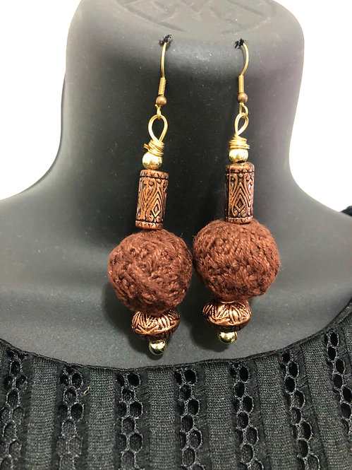 Brown drop earring