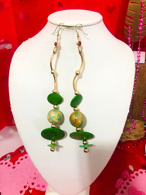 Green and gold earrings
