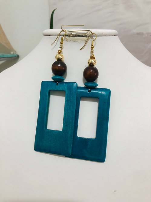 Blue cut earrings
