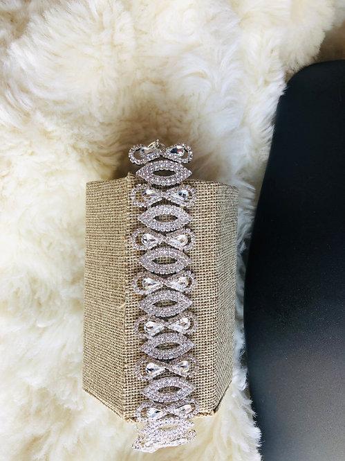 Rhinestone silver bracelet