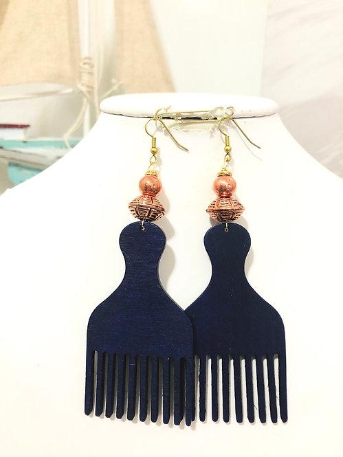 Purple Afro pick earrings