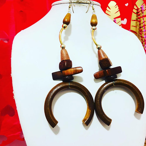 Brown funky earrings