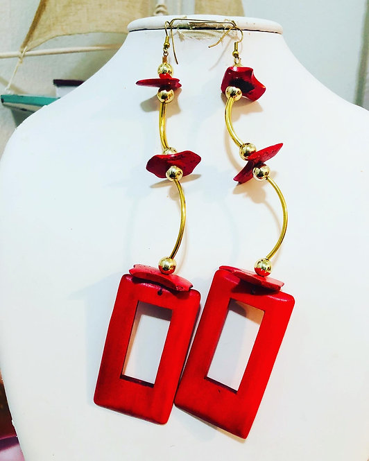 Red funky earrings
