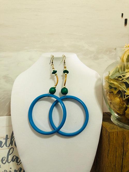 Drop blue hoop earrings