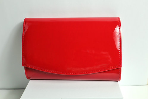 patent faux leather clutch
