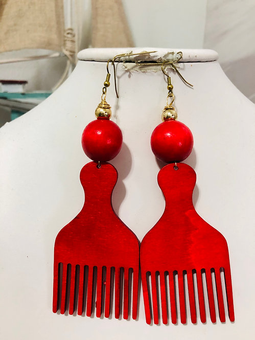 Red Afro comb earrings