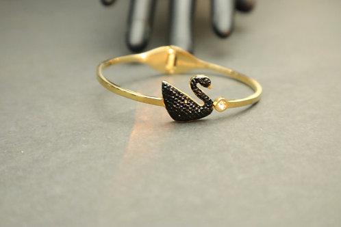 black rhinestone gold bracelet
