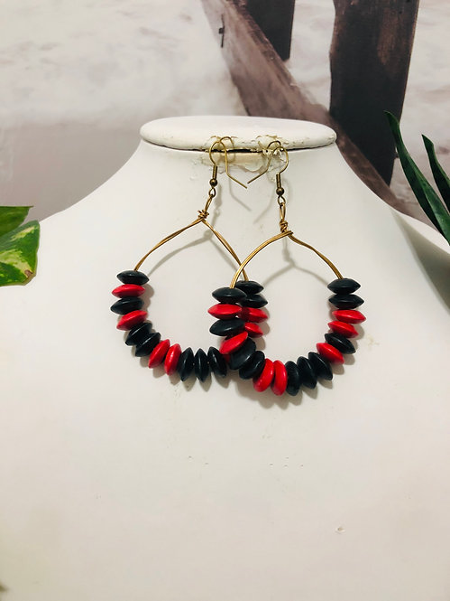 Black and red hoop earrings