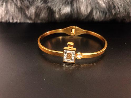 Rhinestone gold stainless steel bracelet