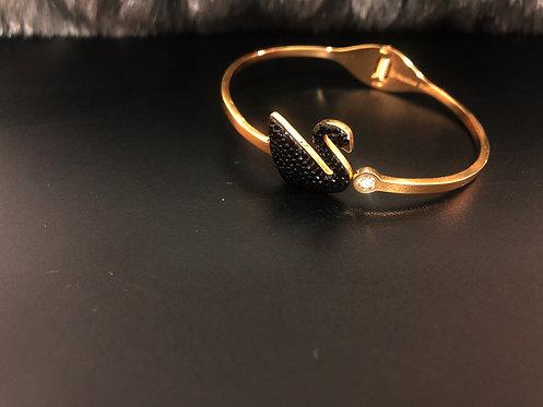 Gold swan stainless steel bracelet