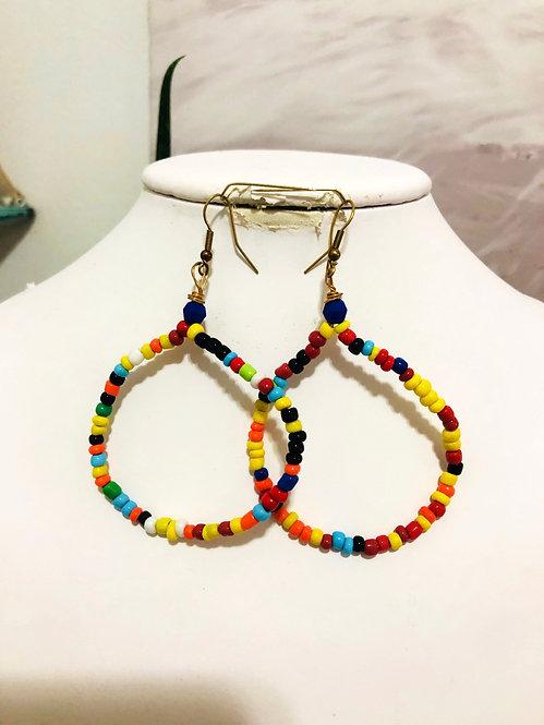 Hoop beaded earrings