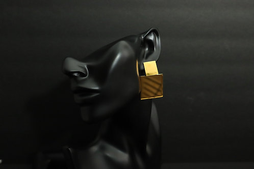 stainless steel gold square earrings