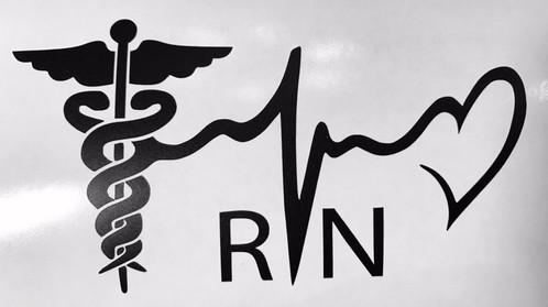 5 rn registered nurse vinyl decal sticker colors heart medic car