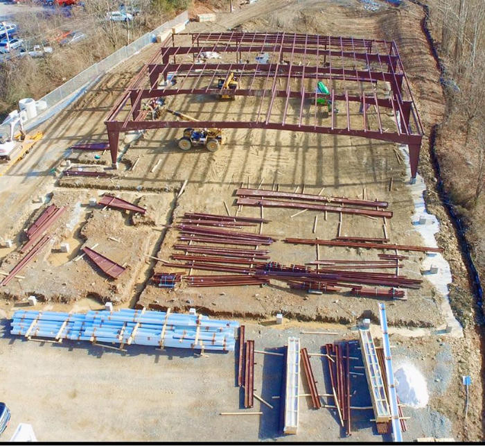 Joe Hudson's Collision Center drone shot of construction site