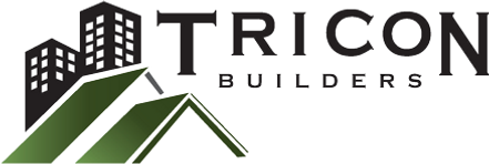 TriCon Builders Logo. Image contains 2 buildings with 2 green roofs in front. Text says: TriCon Builders