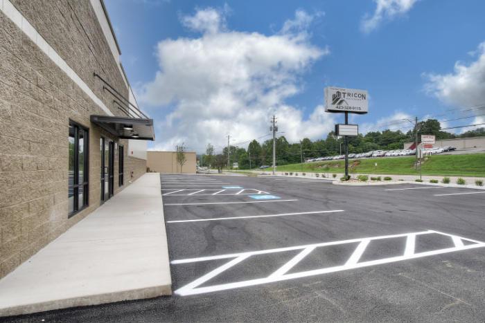 Joe Hudson's Collision Center front parking lot