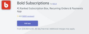 Bold Subscriptions App for Shopify