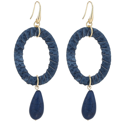 Navy Drop Earings