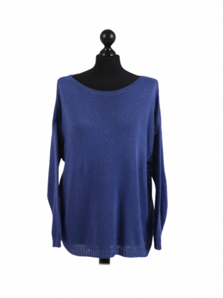 Blue Boat Neck Jumper