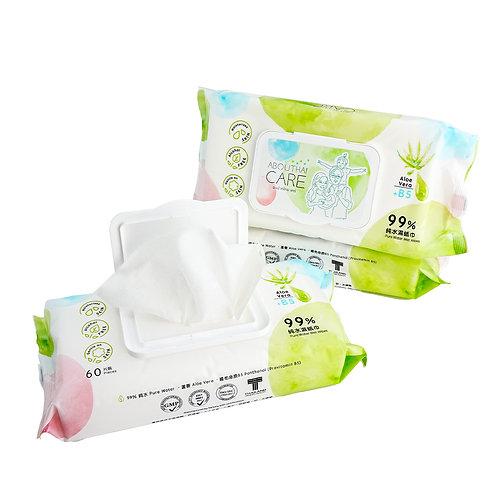 Abouthai Care 99% 純水濕紙巾 60片 (含蘆薈及B5保濕精華)