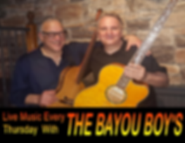 The Bayou Boys Play Live Music every Thursday
