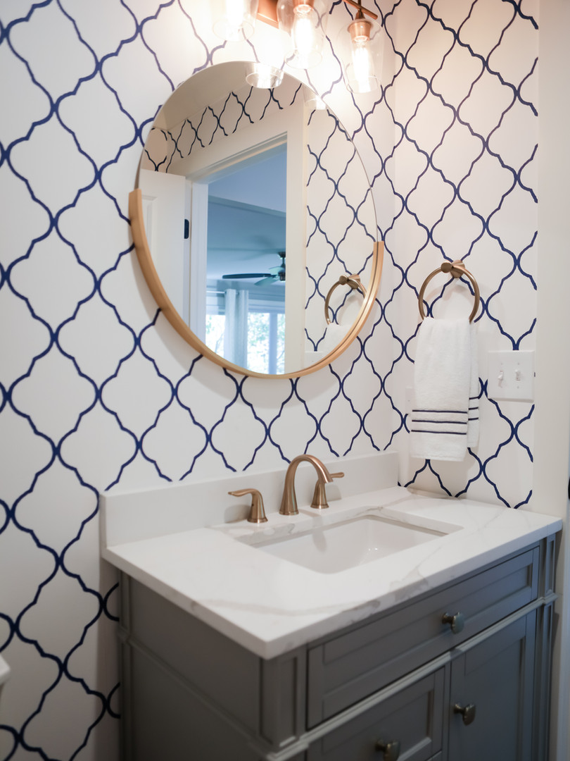 Bright Patterned Powder Room