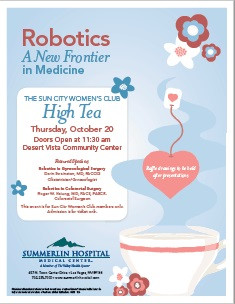 On Thursday October 20th, The Sun City Women's Club will be hosting Dr.Roger Hsiung as he speaks about robotics and colorectal surgery.