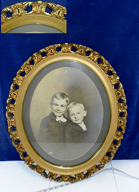 Early 1900s Portrait With Ornate Gilt Gesso Oval Frame